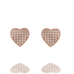 ZDE232-R STERLING SILVER 925 ROSE GOLD PLATED FINISH HEART SHAPE CZ EARRINGS