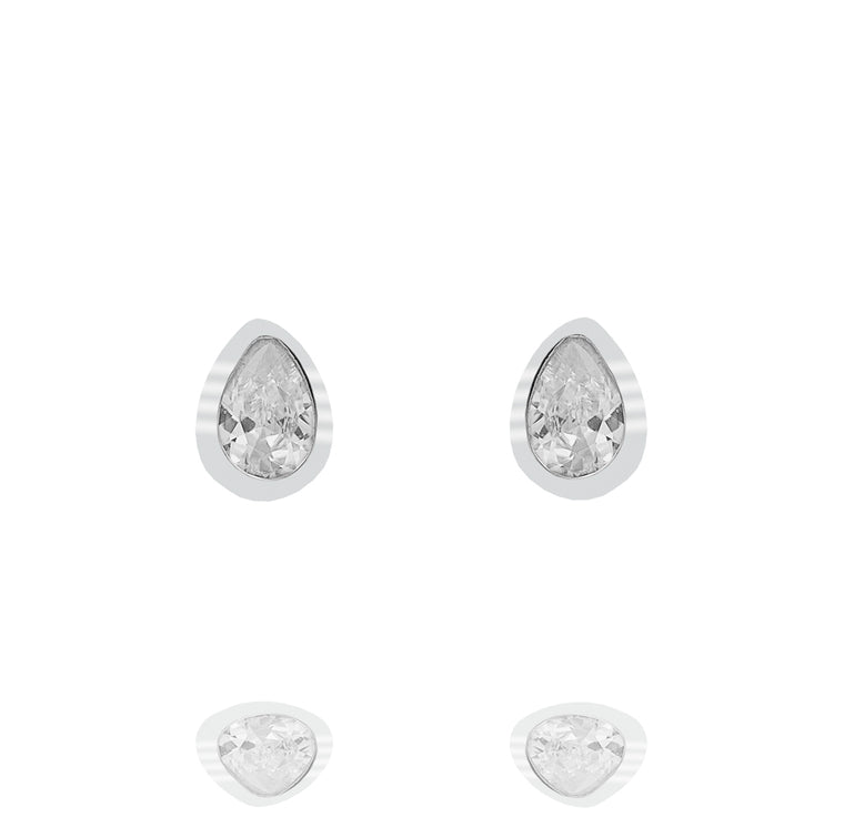 ZDE233 STERLING SILVER 925 RHODIUM PLATED FINISH TEAR DROP CZ EARRINGS