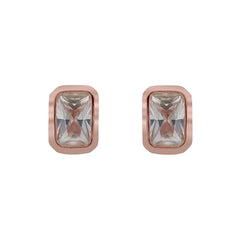 ZDE234-R STERLING SILVER 925 ROSE GOLD PLATED FINISH CUBIC ZIRCONIA EARRINGS