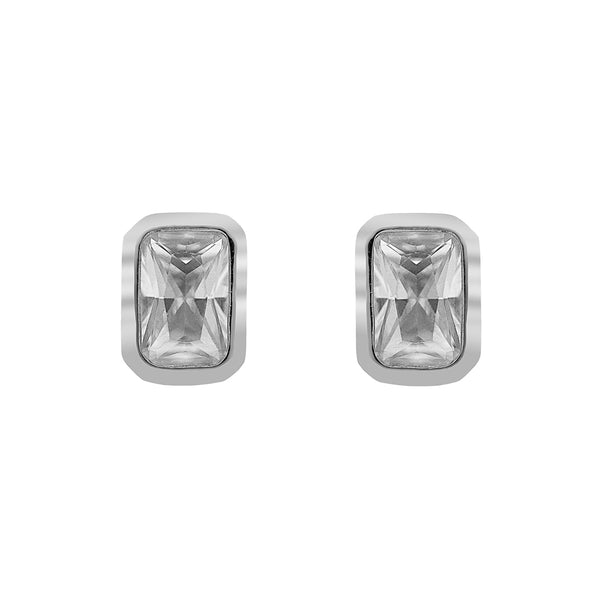 ZDE234 STERLING SILVER 925 RHODIUM PLATED FINISH CUBIC ZIRCONIA EARRINGS