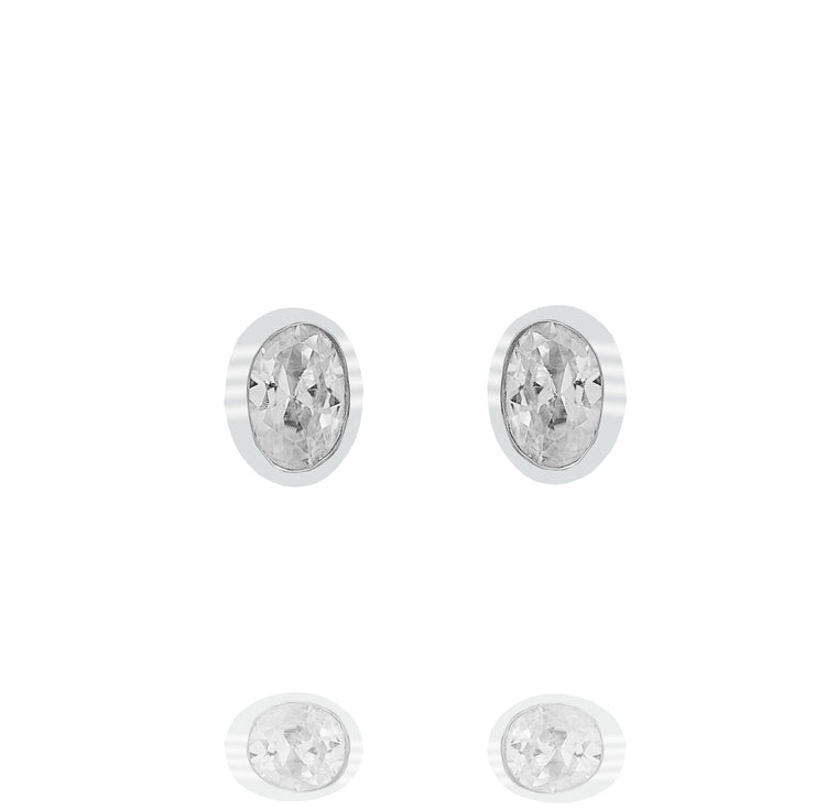 ZDE235 STERLING SILVER 925 RHODIUM PLATED FINISH CUBIC ZIRCONIA EARRINGS