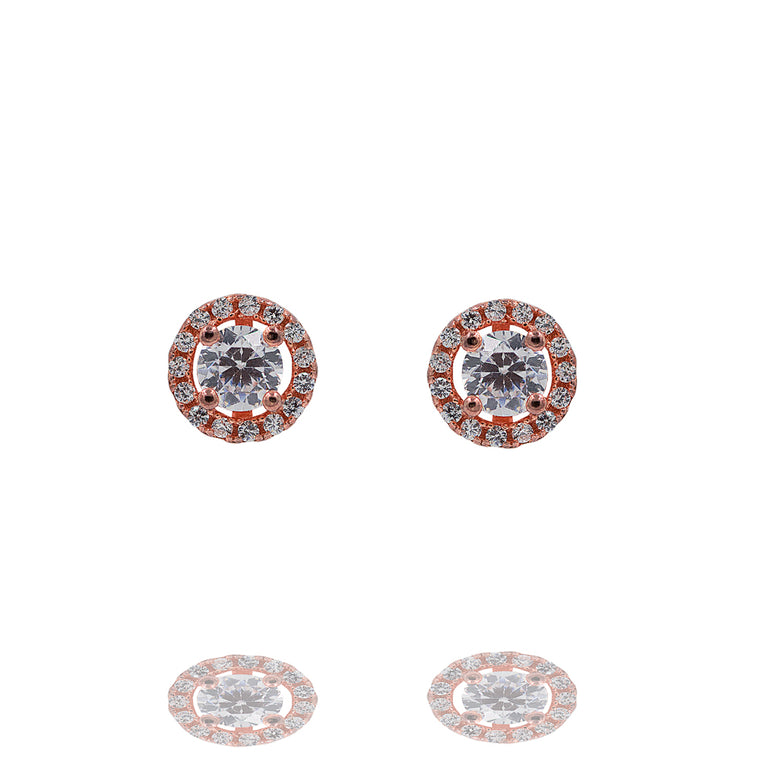 ZDE246-R STERLING SILVER 925 ROSE GOLD PLATED FINISH ROUND SHAPE CZ EARRINGS