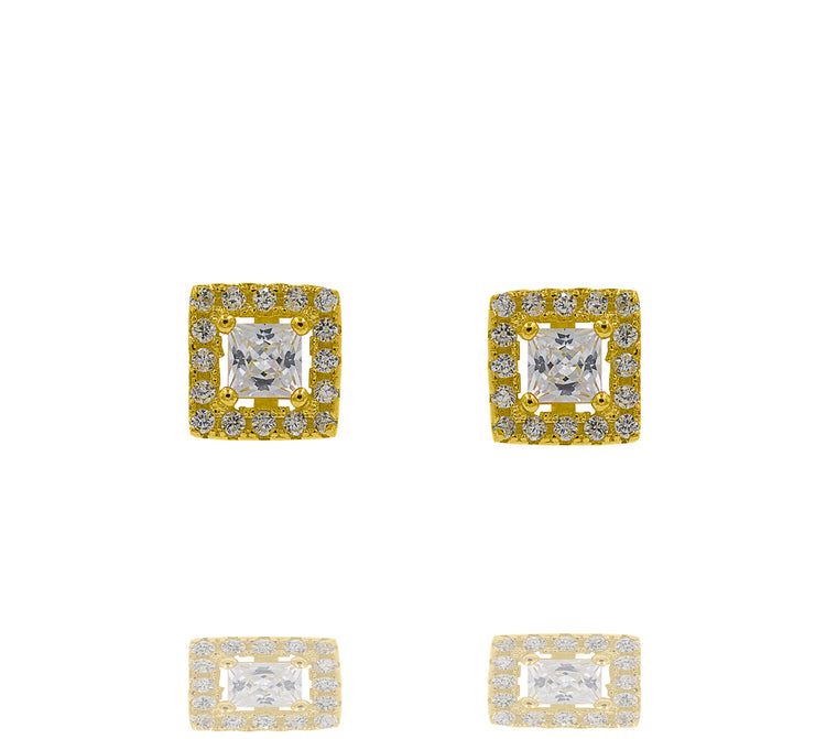 ZDE247-G STERLING SILVER 925 GOLD PLATED FINISH SQUARE SHAPE CZ EARRINGS