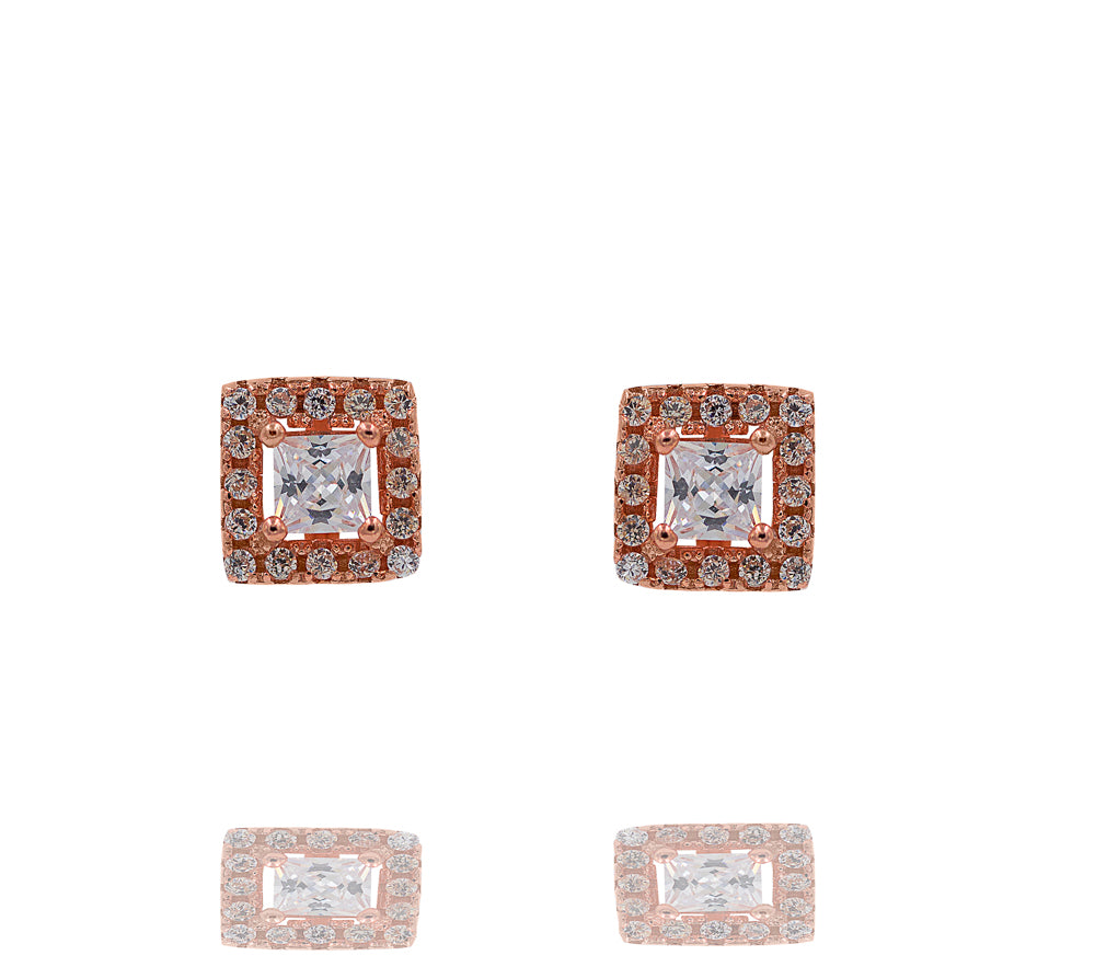 ZDE247-R STERLING SILVER 925 ROSE GOLD PLATED FINISH SQUARE SHAPE CZ EARRINGS