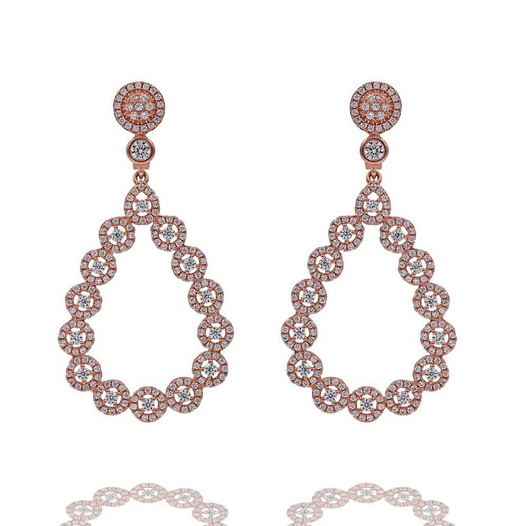 ZDE26016-R STERLING SILVER 925 ROSE GOLD PLATED FINISH FANCY CZ EARRINGS
