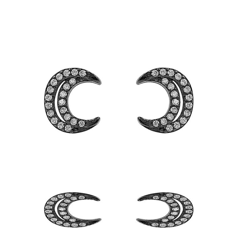 ZDE283-B  STERLING SILVER 925 BLACK RHODIUM PLATED FINISH MOON DESIGN STUD EARRINGS