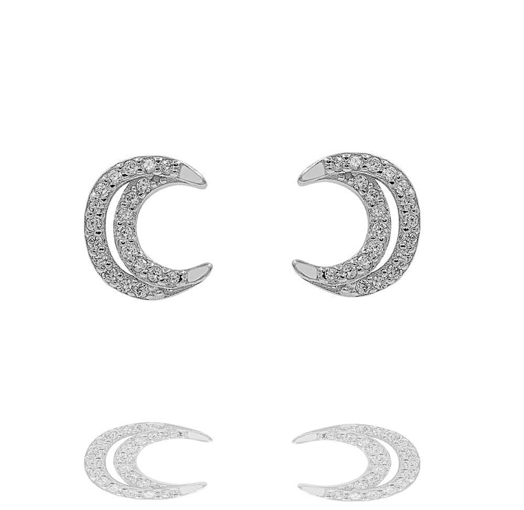 ZDE283 STERLING SILVER 925 RHODIUM PLATED FINISH MOON STUD EARRINGS