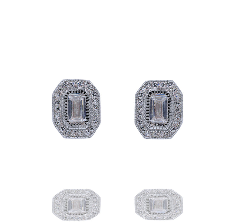 ZDE288 STERLING SILVER 925 RHODIUM PLATED FINISH CUBIC ZIRCONIA EARRINGS
