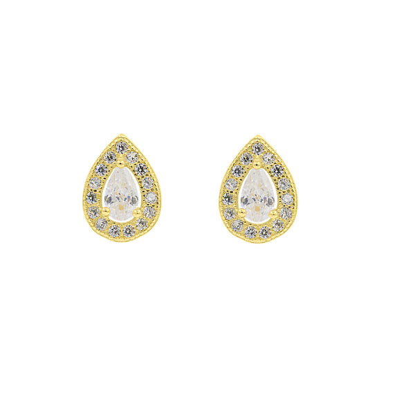 ZDE303-G STERLING SILVER 925 GOLD PLATED FINISH TEAR DROP SHAPE CZ EARRINGS