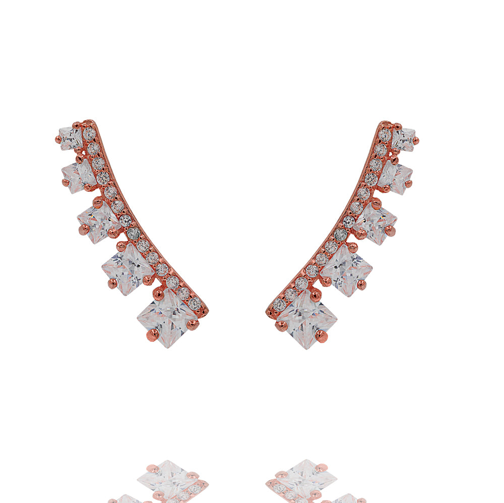 ZDE311-R STERLING SILVER 925 ROSE GOLD PLATED FINISH CZ EARRINGS
