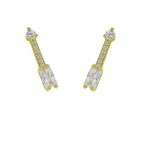 ZDE313-G STERLING SILVER 925 GOLD PLATED FINISH ARROW CUBIC ZIRCONIA EARRINGS