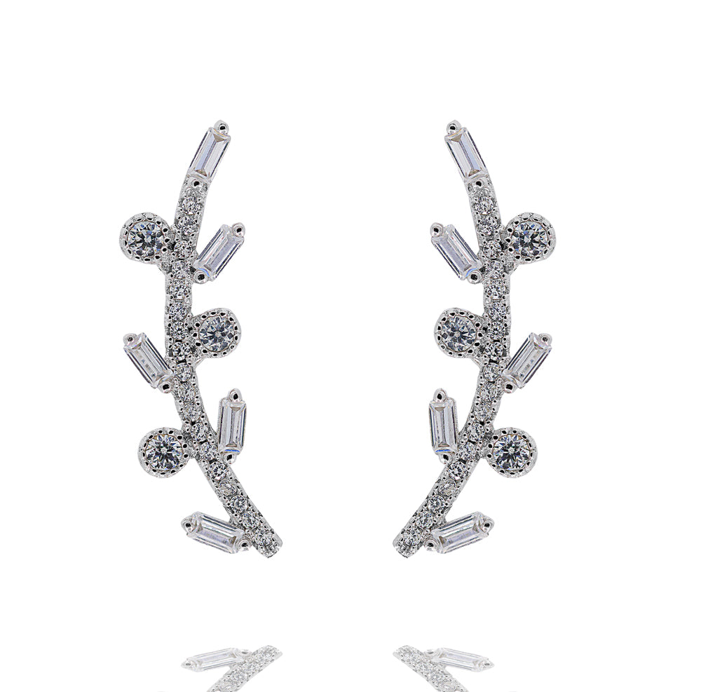 ZDE320 STERLING SILVER 925 RHODIUM PLATED FINISH BAGUETTE AND CZ EARRINGS