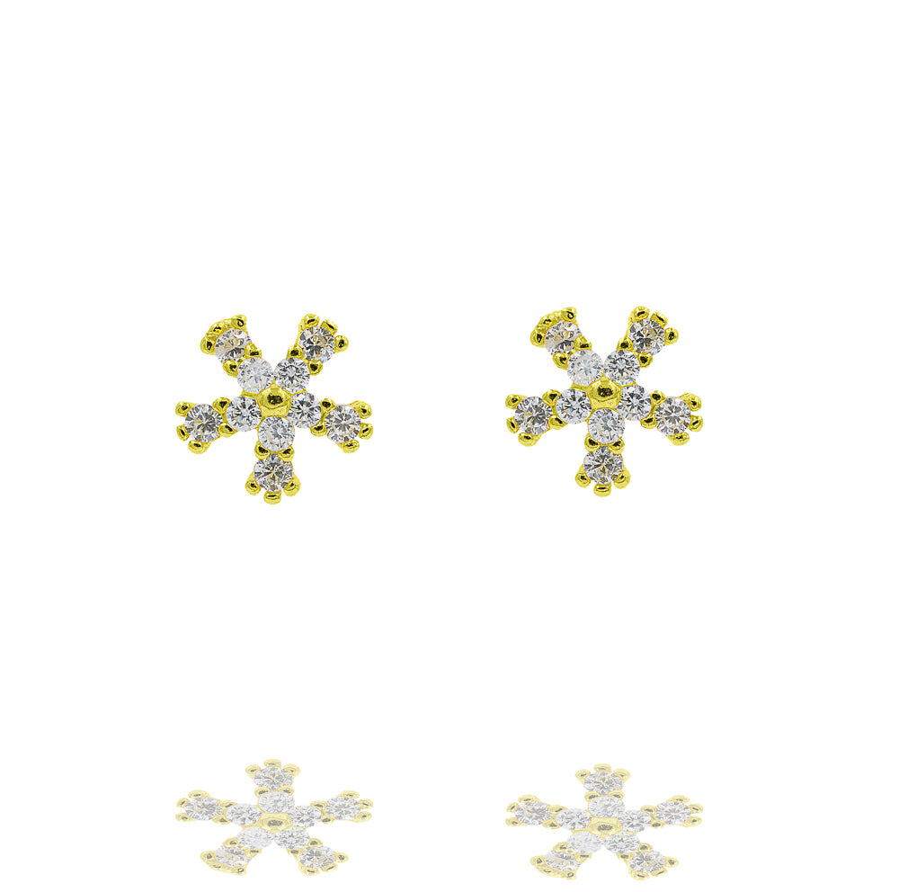 ZDE333-G STERLING SILVER 925 GOLD PLATED FINISH FLOWER SHAPE CZ EARRINGS