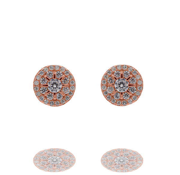 ZDE343-R STERLING SILVER 925 ROSE GOLD PLATED FINISH ROUND SHAPE CZ EARRINGS