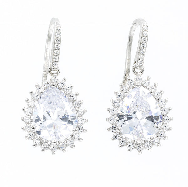 ZDE3563 STERLING SILVER 925 TEARDROP FISH HOOK CZ EARRINGS