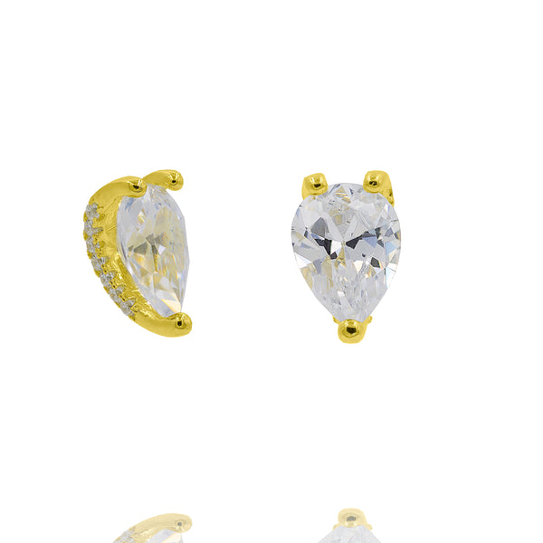 ZDE379-G STERLING SILVER 925 GOLD PLATED FINISH CZ EARRINGS