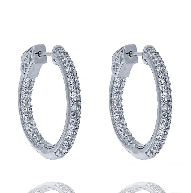 ZDE5000 STERLING SILVER 925 RHODIUM PLATED FINISH WHITE CZ HOOP EARRINGS 25MM