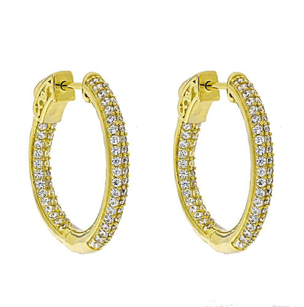 ZDE5001 STERLING SILVER 925 GOLD PLATED WHITE CZ HOOP EARRINGS