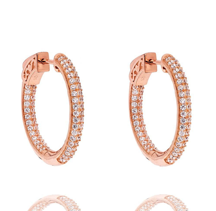 ZDE5002 STERLING SILVER 925 ROSE GOLD PLATED WHITE CZ HOOP EARRINGS 25MM