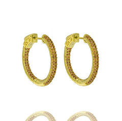 ZDE5004 STERLING SILVER 925 GOLD PLATED FINISH CHAMPAGNE CZ HOOP EARRINGS 25MM