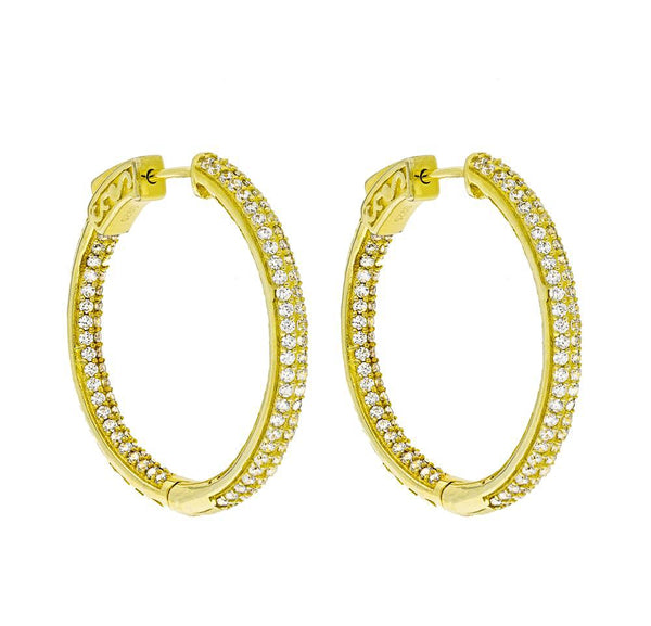 ZDE5006 STERLING SILVER 925 GOLD PLATED FINISH WHITE CZ HOOP EARRINGS 31MM