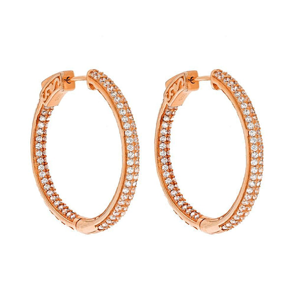 ZDE5007 STERLING SILVER 925 ROSE GOLD PLATED FINISH WHITE CZ HOOP EARRINGS 31MM