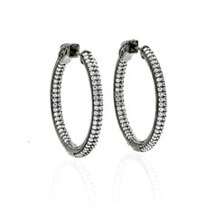 ZDE5008 STERLING SILVER 925 BLACK RHODIUM PLATED FINISH WHITE CZ HOOP EARRINGS 31MM