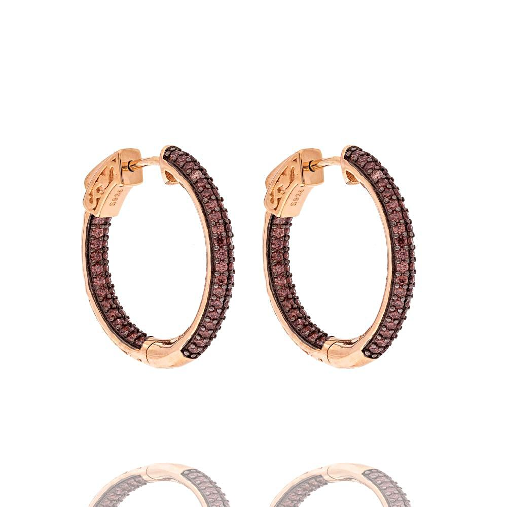 ZDE5030 STERLING SILVER 925 ROSE GOLD PLATED FINISH CHOCOLATE CZ HOOP EARRINGS 25MM
