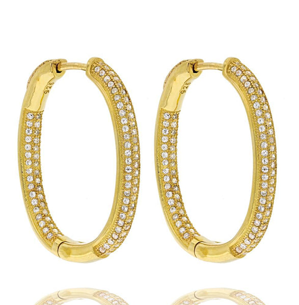 ZDE5040-G STERLING SILVER 925 GOLD PLATED FINISH OVAL WHITE CZ HOOP EARRINGS 25 MM