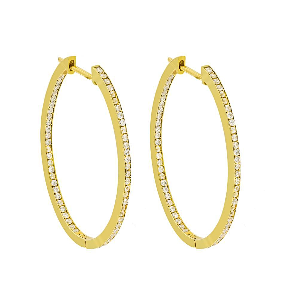 ZDE5050W-G STERLING SILVER 925 GOLD PLATED FINISH WHITE CZ HOOP EARRINGS 31 MM