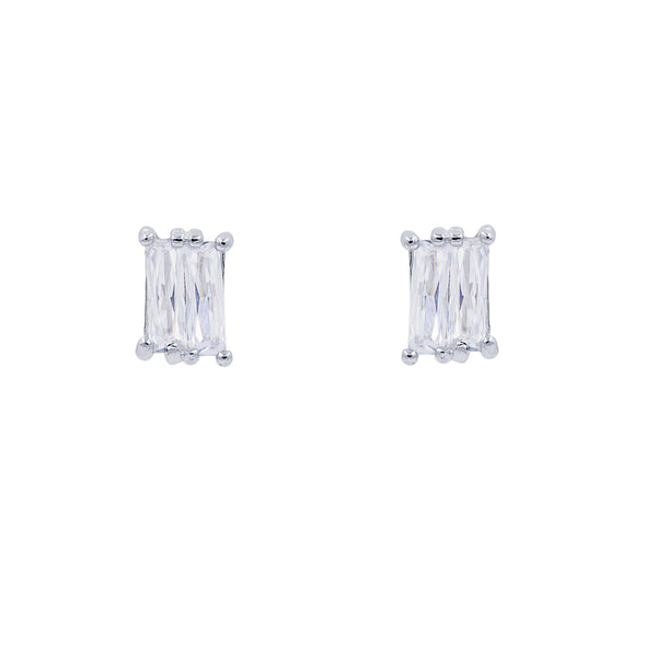 ZDE87 STERLING SILVER 925 RHODIUM PLATED FINISH BAGUETTE EARRINGS