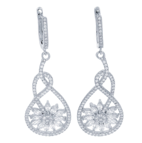 ZDE9061 STERLING SILVER 925 RHODIUM PLATED FINISH FLOWER CLEAR WHITE CZ EARRINGS