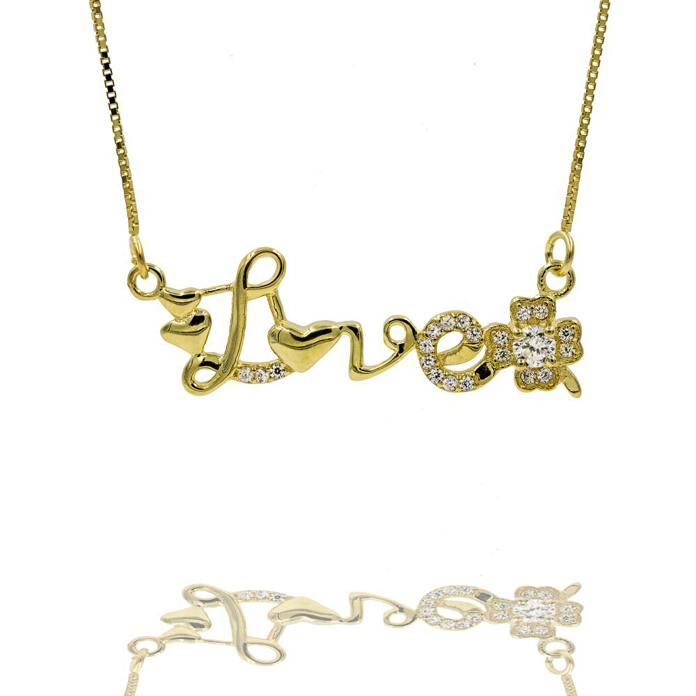 ZDN10002-G STERLING SILVER 925 GOLD PLATED '' LOVE '' DESIGN CZ NECKLACE