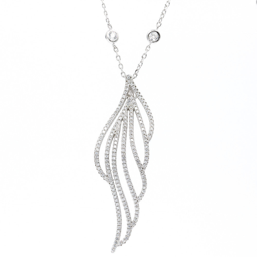 ZDN1001 STERLING SILVER 925 RHODIUM PLATED FINISH LEAF DESIGN CZ NECKLACE
