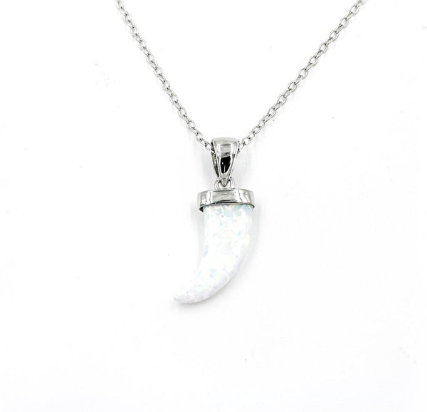 ZDN1037-WOP STERLING SILVER 925 RHODIUM PLATED FINISH HORN WHITE OPAL NECKLACE