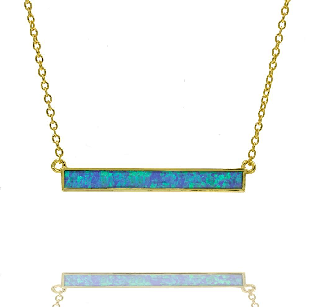 ZDN1039-BOP 925 STERLING SILVER GOLD PLATED FINISH  BLUE OPAL BAR NECKLACE