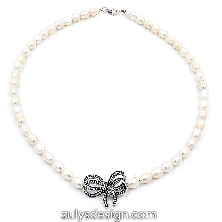 ZDN1106-RW STERLING SILVER 925 RHODIUM PLATED PEARL BOW DESIGN CZ NECKLACE