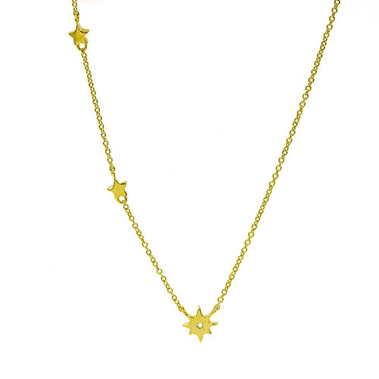 ZDN128-G STERLING SILVER GOLD PLATED FINISH PLAIN SMALL STARS DESIGN NECKLACE