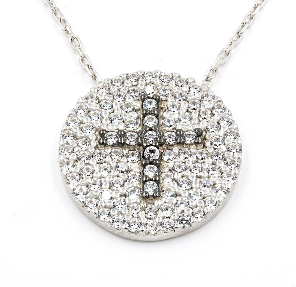 ZDN1285 925 STERLING SILVER RHODIUM PLATED FINISH PAVE CZ ROUND CROSS NECKLACE