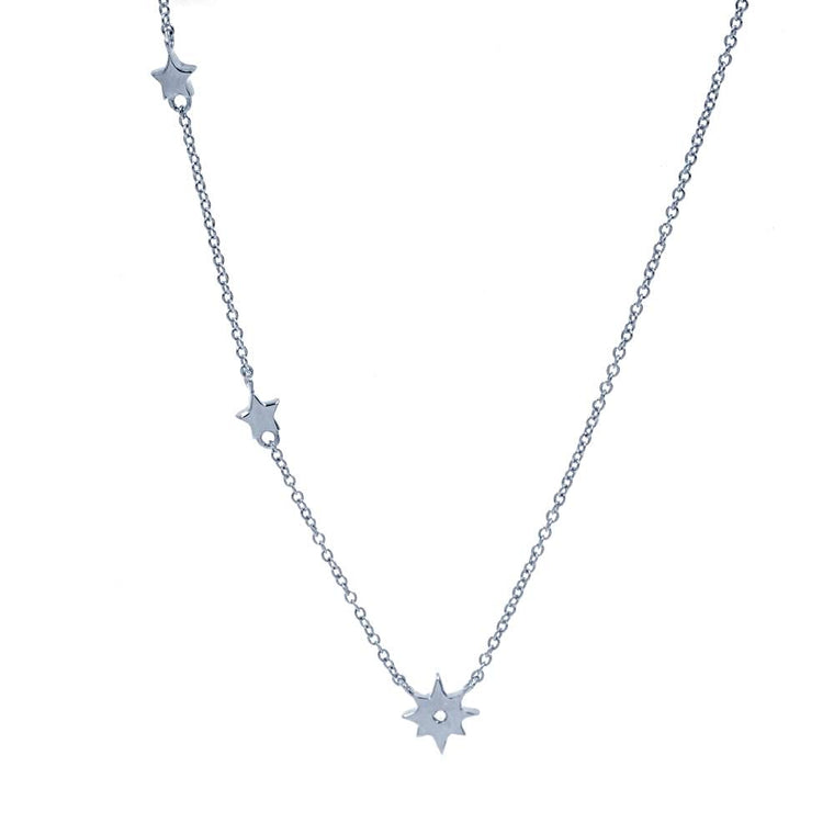 ZDN128 STERLING SILVER 925 RHODIUM PLATED FINISH PLAIN SMALL STARS DESIGN NECKLACE