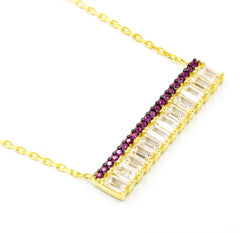 ZDN1290-R 925 STERLING SILVER GOLD PLATED FINISH BAGUETTE BAR NECKLACE