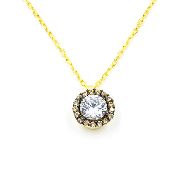 ZDN1295-G STERLING SILVER 925 GOLD PLATED FINISH ROUND CZ NECKLACE