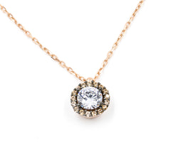ZDN1295-RG STERLING SILVER 925 ROSE GOLD PLATED FINISH ROUND CZ NECKLACE