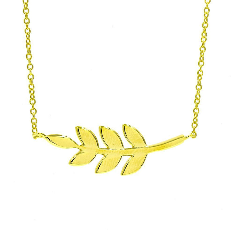 ZDN142-G STERLING SILVER 925 GOLD PLATED FINISH PLAIN SIDE LEAF DESIGN NECKLACE