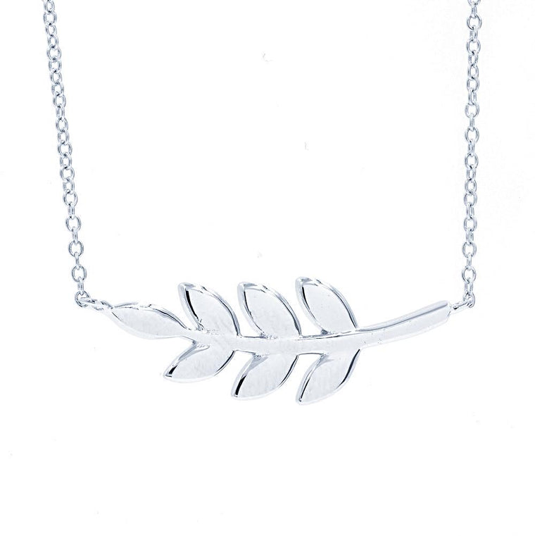 ZDN142 STERLING SILVER 925 RHODIUM PLATED FINISH PLAIN SIDE LEAF DESIGN NECKLACE