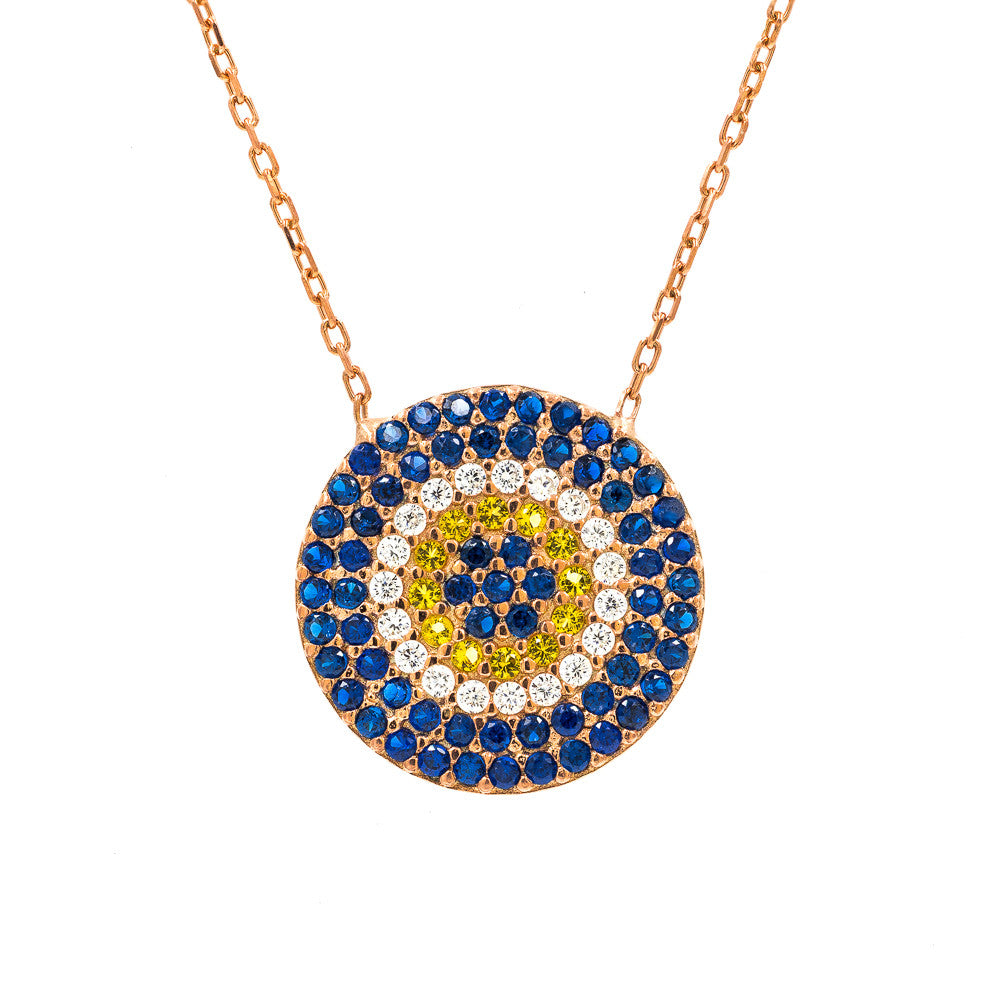 ZDN148-RG  925 STERLING SILVER ROSE GOLD PLATED 16MM ROUND  EVIL EYE NECKLACE