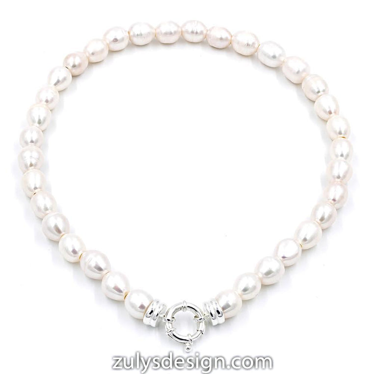 ZDN1565 STERLING SILVER 925 RHODIUM PLATED PEARL NECKLACE