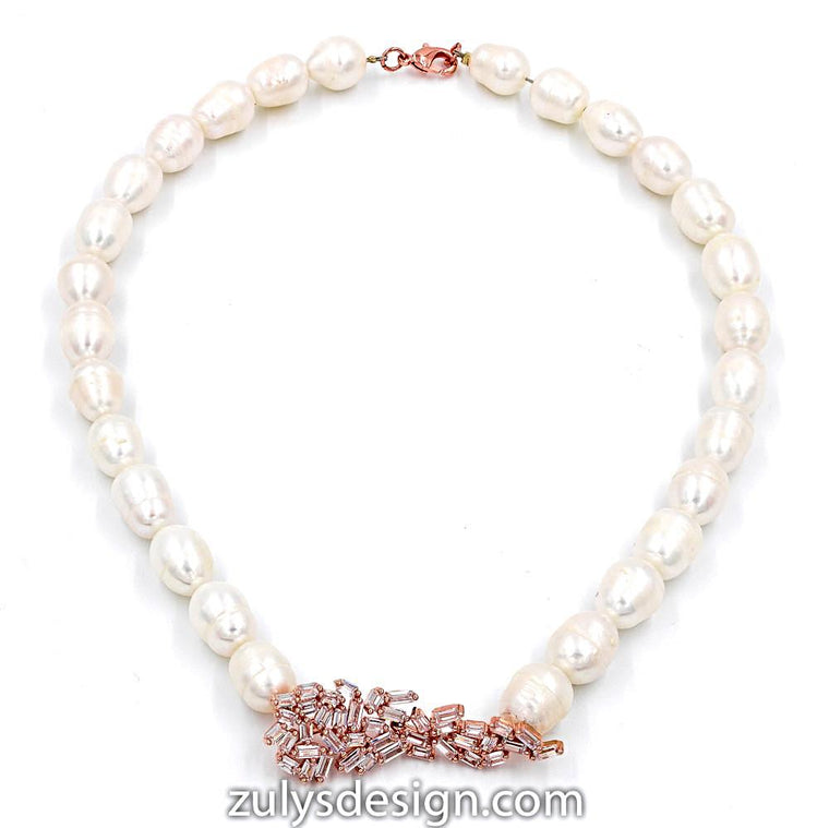 ZDN1570-RG STERLING SILVER 925 ROSE GOLD PLATED PEARL ART DECO  DESIGN CZ NECKLACE