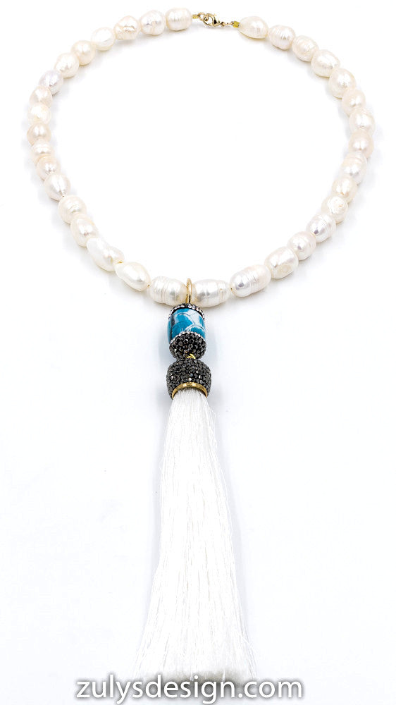 ZDN1573  MARCASITE BLUE TASSEL DESIGN PEARL NECKLACE