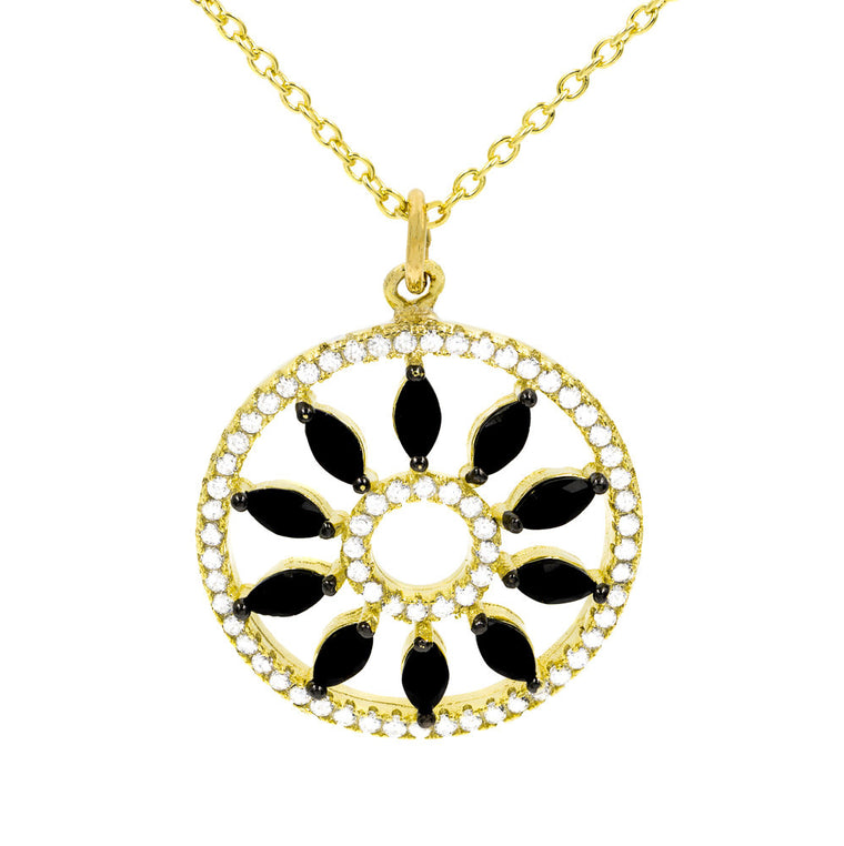 ZDN16016-G STERLING SILVER 925 GOLD PLATED FINISH ELEGANT BLACK CZ NECKLACE